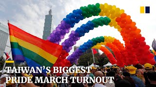 Taiwan's biggest pride march after same-sex marriage legalised