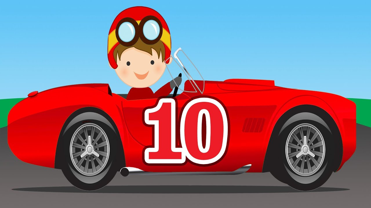 number counting race cars learn to count 1 to 10 for kids youtube