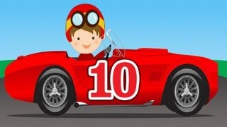 Number Counting Race Cars - Learn to Count 1 to 10 for Kids