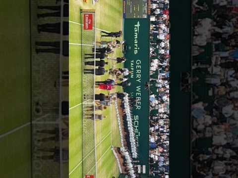 Siegerehrung Gerry Weber Open 2017 mit Roger Federer
