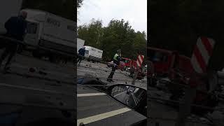 Смотреть видео ДТП трасса Москва-Минск 11.09.2018. онлайн
