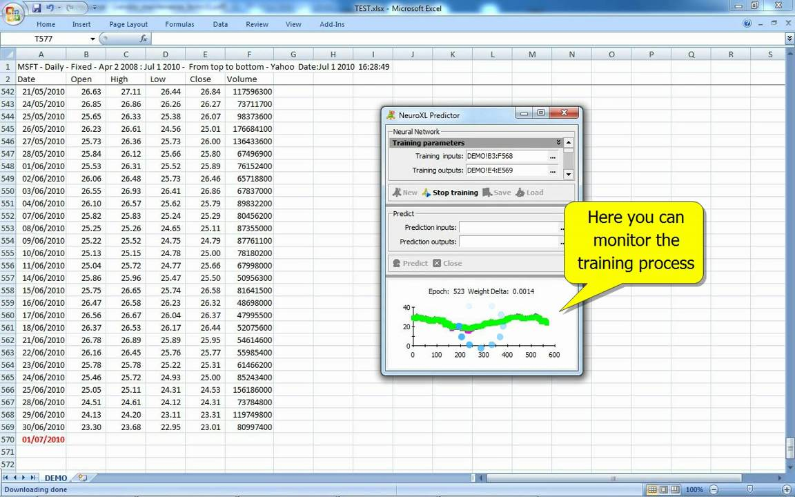 Neural Network Stock Prediction in Excel with NeuroXL