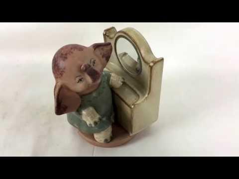 Vintage Elephant Ceramic Music Box w/ Mirror Piano Talk to the Animals Old Rare