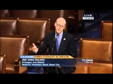 Greg Walden addresses U S  House on situation in Harney County, OR, federal overreach in the West