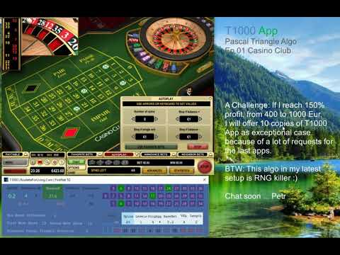 T1000 App | Casino Club Ep.01 Algo Pascal Triangle Selection | Online Roulette Systems, Strategies