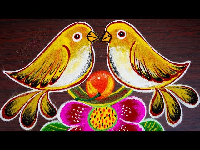 Simple birds rangoli for new year 2019 - creative pongal kolam with 8x4 dots - sankranthi muggulu