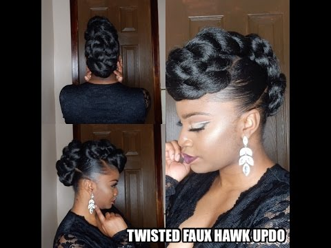 Protective Style Twisted Faux Hawk Updo Youtube