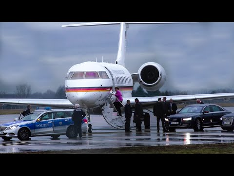 Chancellor Angela Merkel departing Karlsruhe Airport onboard Bombardier Global Express 14+04