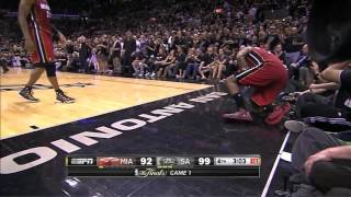 Heat - Spurs 95-110: LeBron leaves game cramping & final minutes | game 1 | 2014 NBA finals