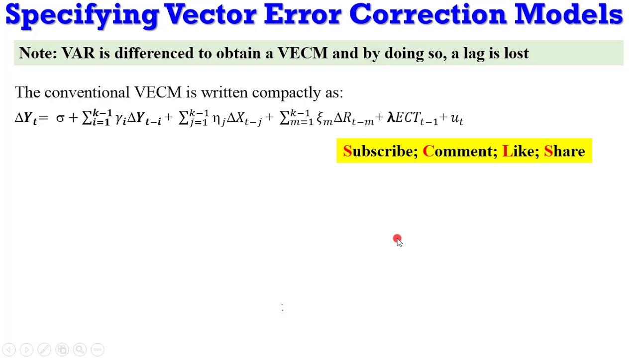 Specifying Vector Error Correction Models #vecm #var #lags #Johansen  #serialcorrelation #innovations