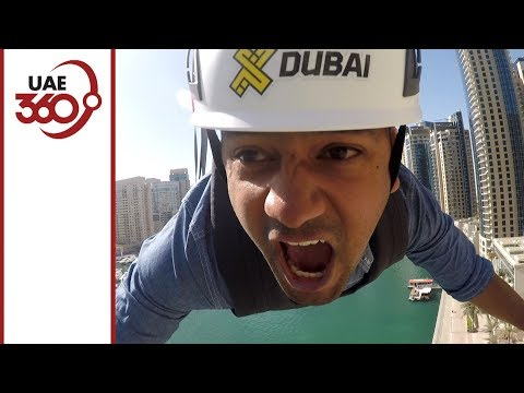 Trying out world's longest urban zipline at XLine Dubai Marina!