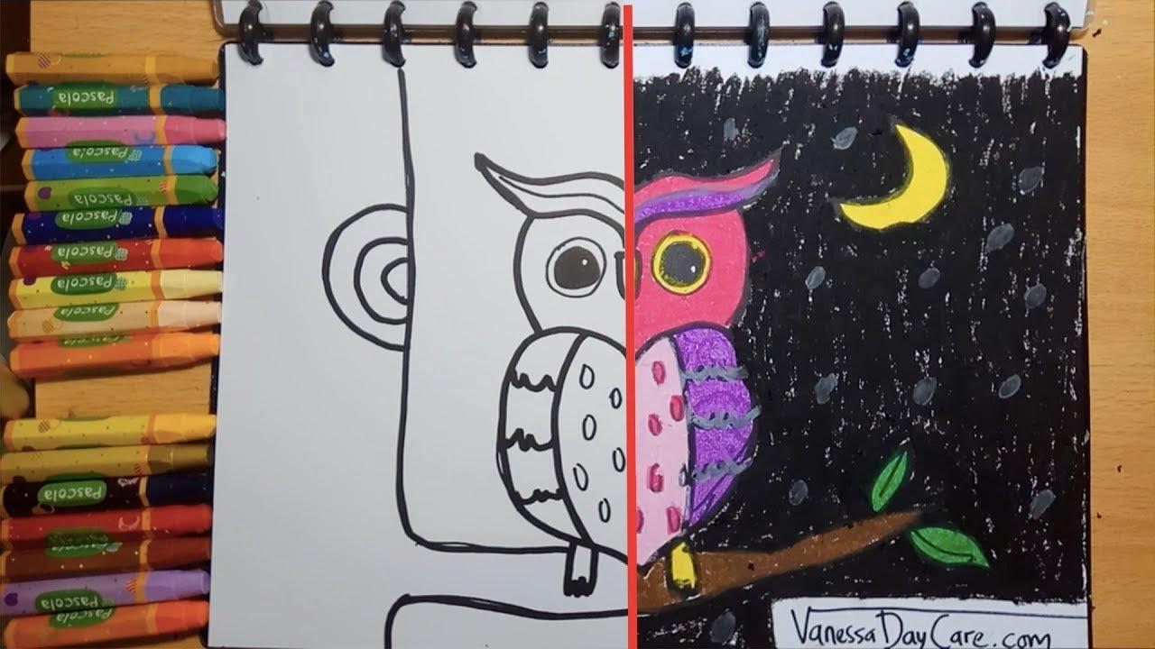 Menggambar Dan Mewarnai Burung Hantu Untuk Anak Balita Belajar