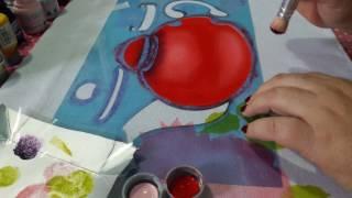 Pintura com stencil parte 1(bule redondo com Rosas)