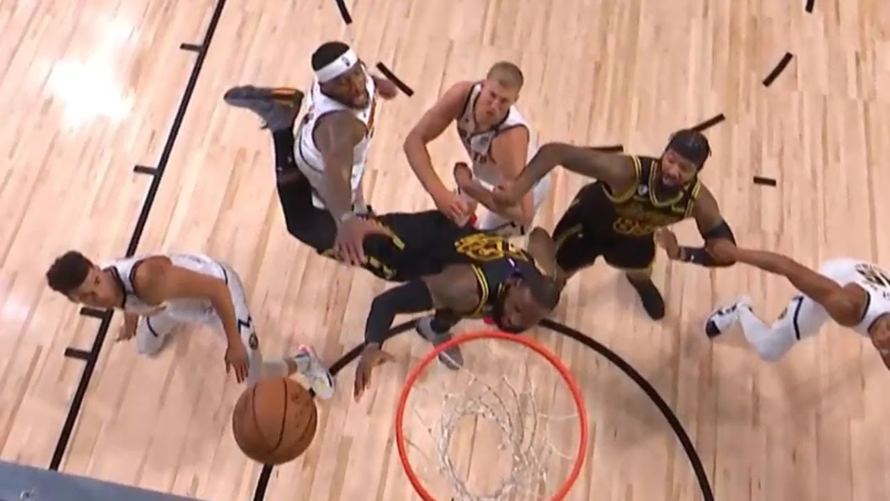 LeBron James with the fake pass and makes the and 1 | Game 2 | Lakers vs Nuggets