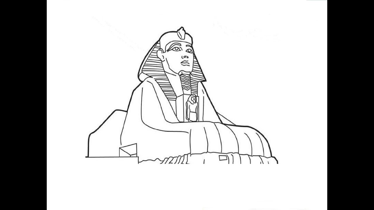 Egyptian Sphinx Head Drawing