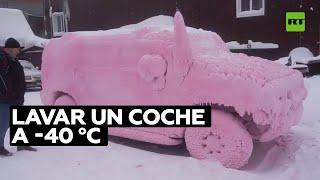 ¿Cómo lavarían un auto a -40 °C?