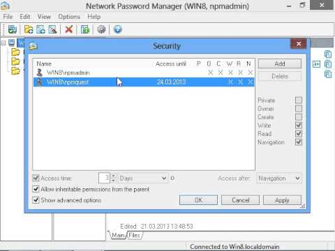 Network Password Manager: Security Administrator settings