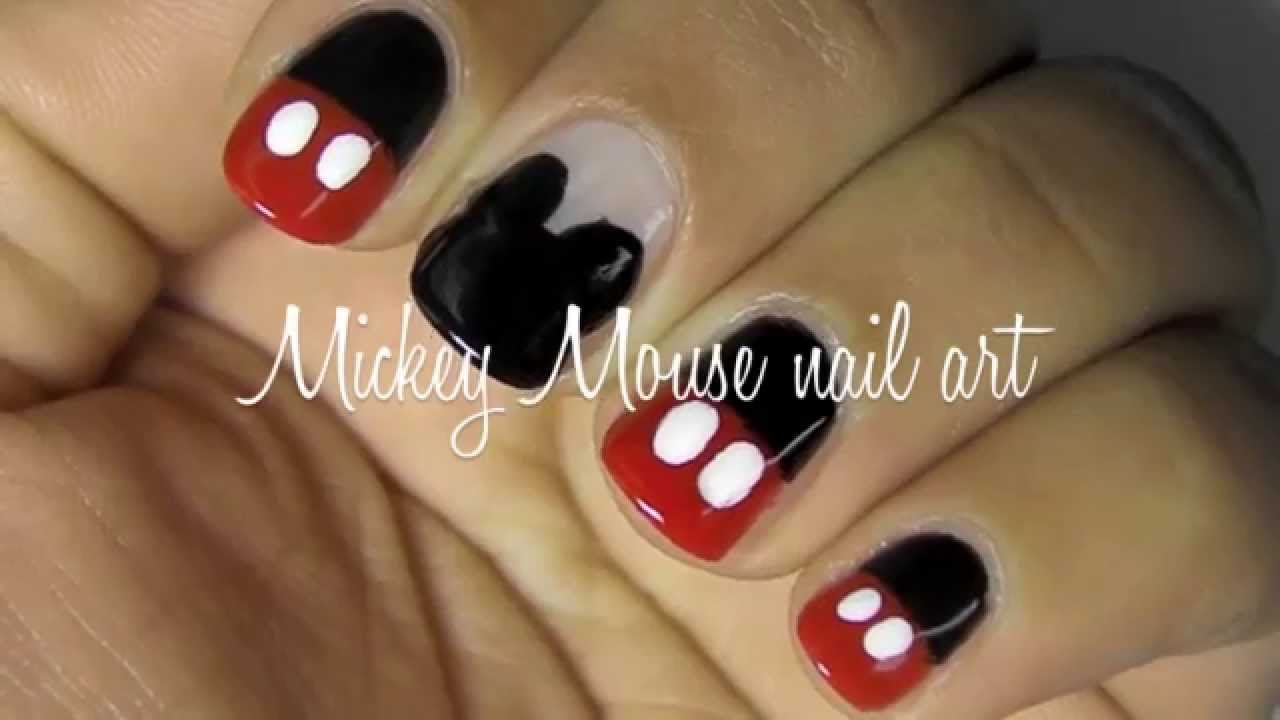 Mickey Mouse Nail Art Tutorial 2 Designs Youtube
