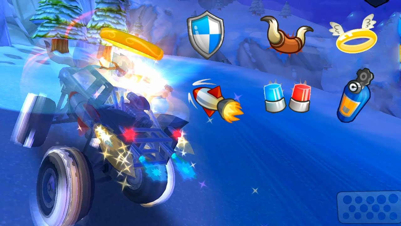 6 Powerups At the same time On Fire And Ice Race Track | Beach Buggy Racing 2 Android Game Play