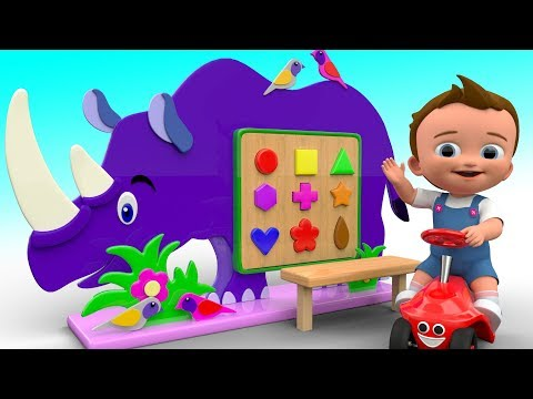 Little Baby Learning Colors & Shapes for Children with Wooden Rhino Animal 3D Shapes ToySet for Kids