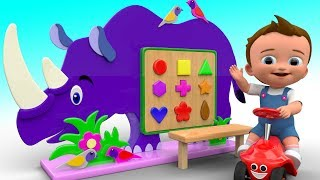 Learning Colors & Shapes for Children with Wooden Rhino Animal Shapes Toy Set for Kids Baby Edu