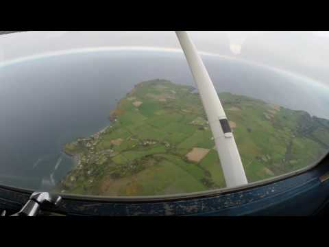 The coast of the Isle of Man as seen from a light aeroplane.