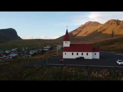Beautiful Landscape at Iceland Vik I Myrdal Church
