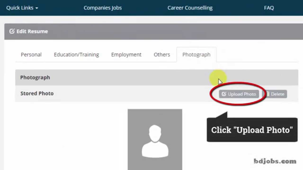 how to upload photo in your resume