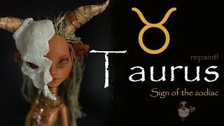 Taurus Zodiac Sign OOAK Custom Monster High Doll Repaint