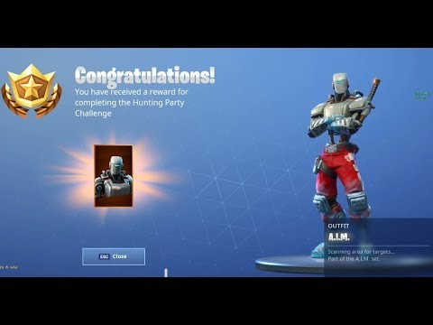 Fortnite Hunting Party Challenge Completion!! New A.I.M Skin Reveal!!  Week 7 