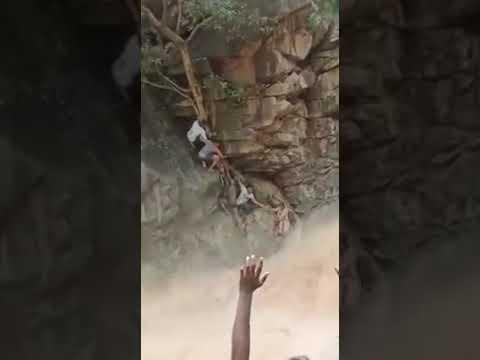 ஆனைவாரி நீர் வீழ்ச்சியில்  ஏற்பட்ட வெள்ளப் பெருக்கில் குழந்தையுடன் சிக்கிக்கொண்ட தாயை மீட்ட வனத்துறை