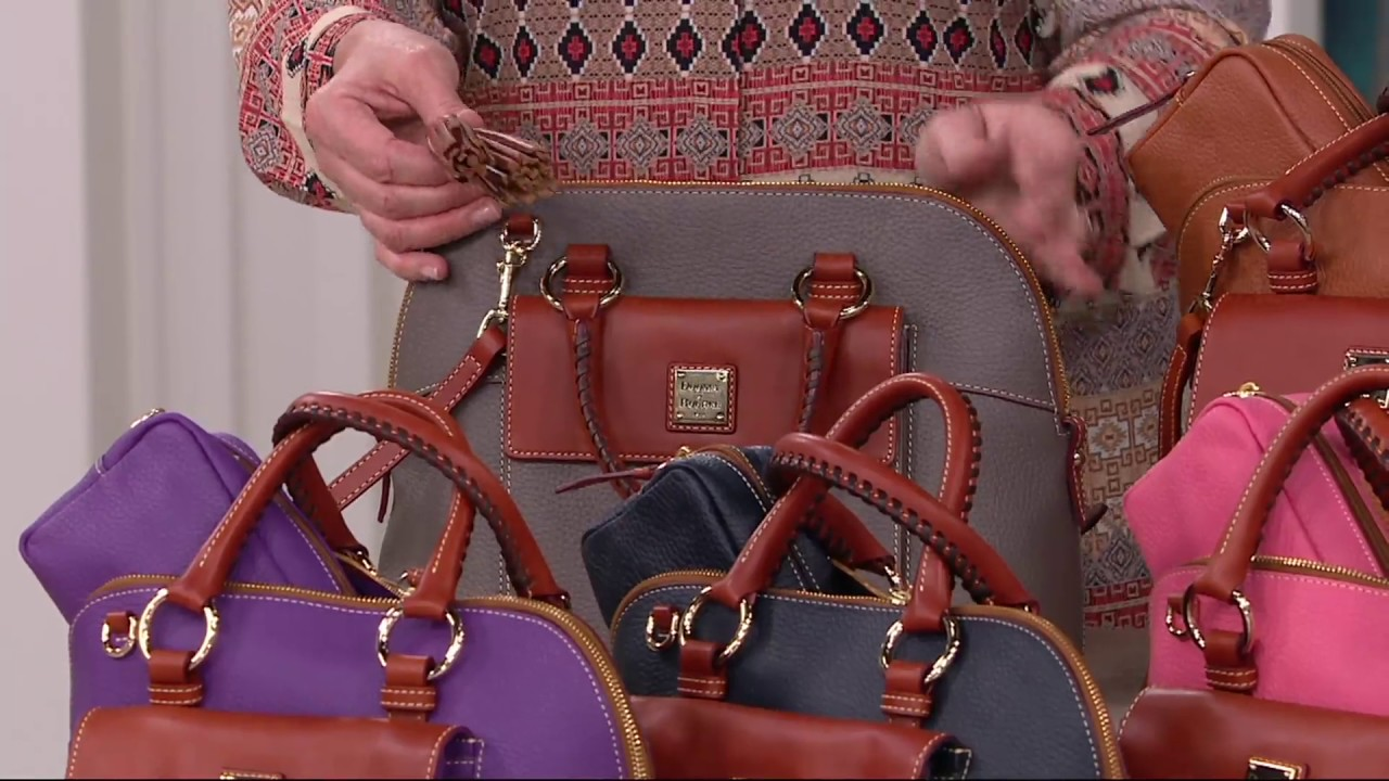 304792b04f358f Dooney & Bourke Pebble Leather Aubrey Satchel with Accessories on QVC