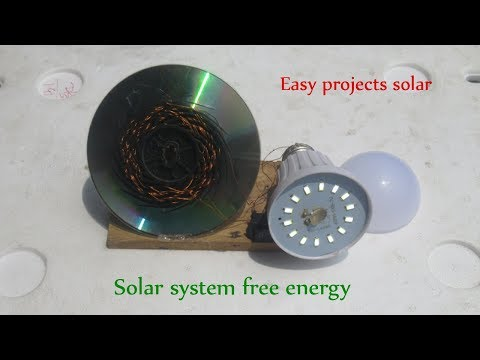 Free solar energy system light bulbs with CD panel - Easy projects solar system work 100%