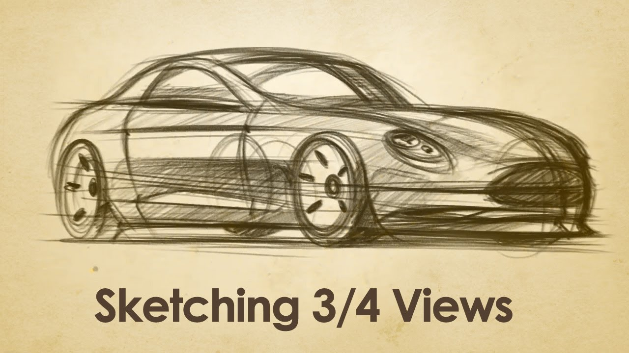 How to Draw Cars in 3 quarter View - Coupe Sketch - YouTube