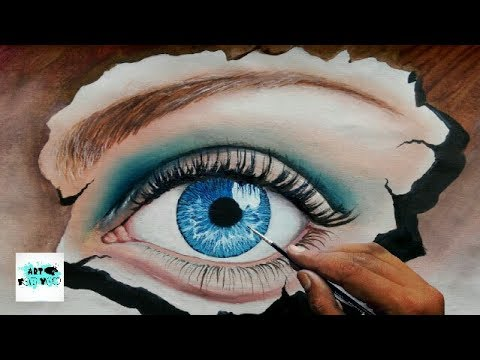 How To Make 3d Realistic Eye Painting With Oil Color Oil Painting Eye Drawing Canvas Art Youtube