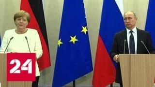 Теплая атмосфера и белый букет: о чем разговаривали Путин и Меркель - Россия 24