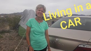 Home is a Acura. Woman living and traveling in her car.