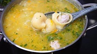Суп с сапожками, его придумала когда-то давно наша бабуля.  Нравится и взрослым и детям!