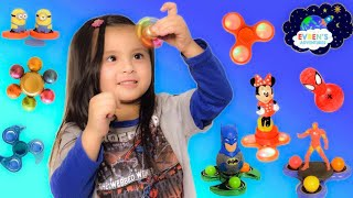Fidget Spinner Games! Giant Egg Surprise Amazing Tricks Fidget Spinners Disney DC Comic Toys Review