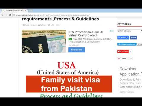 USA Family visa process and Guidelines From Pakistan