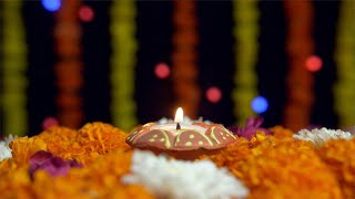 Closeup shot of a beautiful burning Diya on the occasion of Diwali - the festival of India