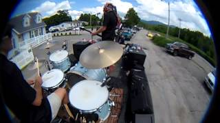 "Dean Machine on the road - band plays ""Shaky Ground"" on flat bed truck"