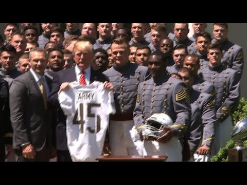 Trump Honors Army Cadets With Football Trophy