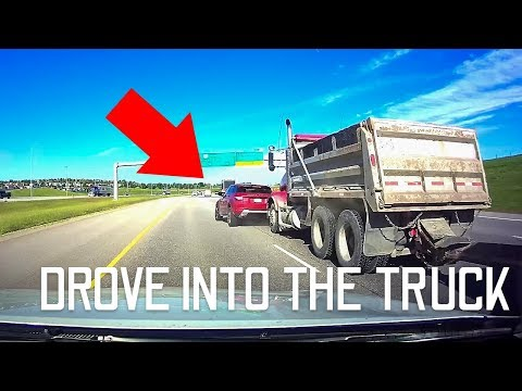 She Drove Right Into The Dump Truck! (Crash Caught On Dashcam)