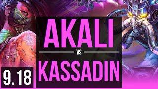 AKALI vs KASSADIN (MID) | 3 early solo kills | Korea Diamond | v9.18