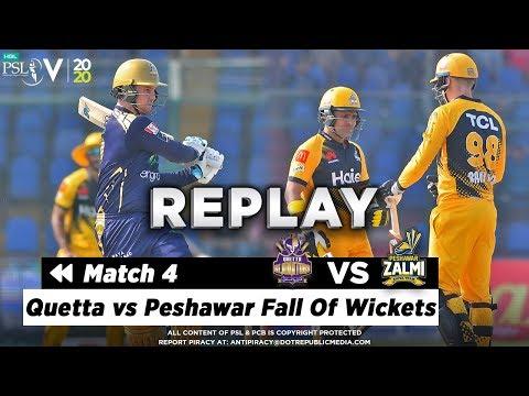 Quetta vs Peshawar Fall Of Wickets   Quetta Gladiators vs Peshawar Zalmi   Match 4  HBL PSL 5   2020