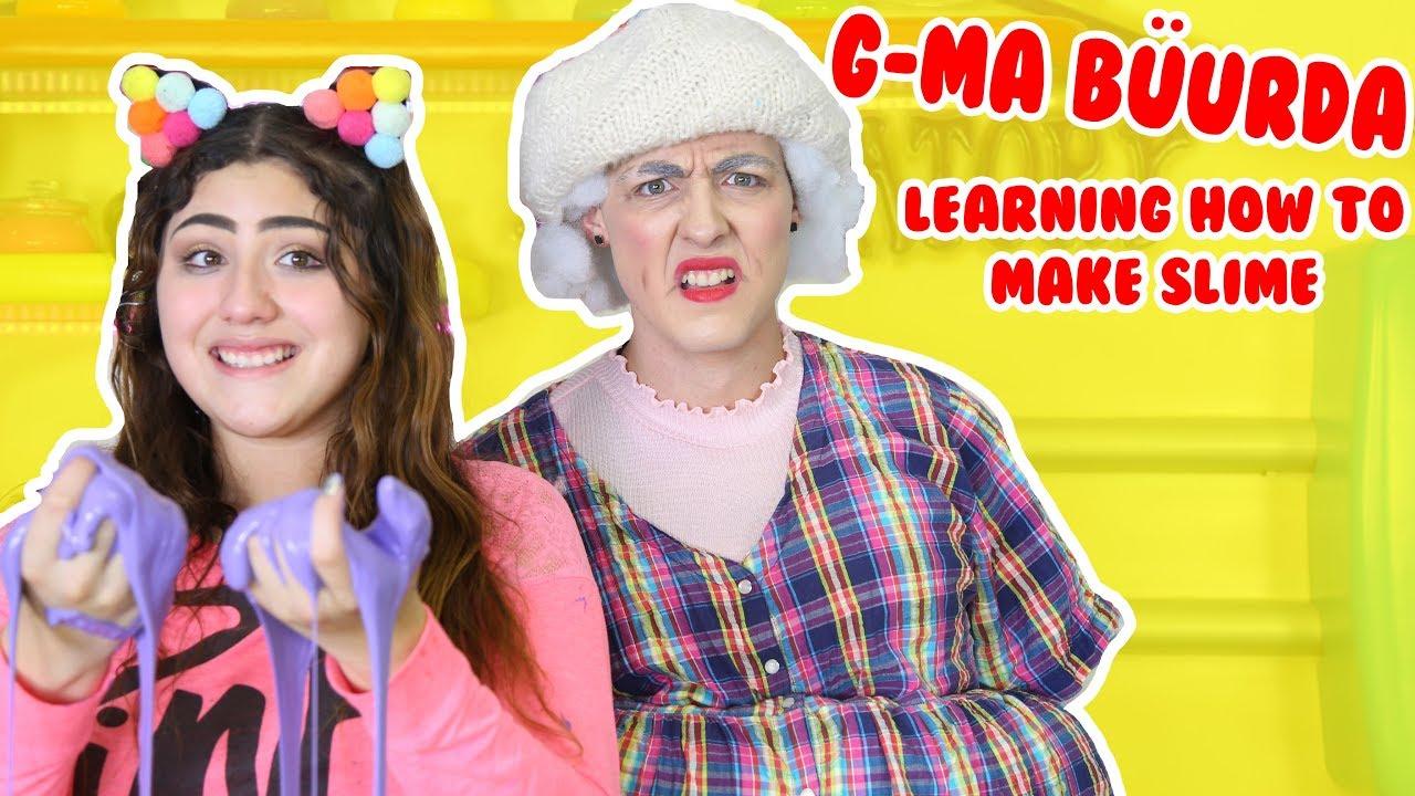 MAKING SLIME WITH GRANDMA BÜURDA | trying to teach grandma slime | Slimeatory #120