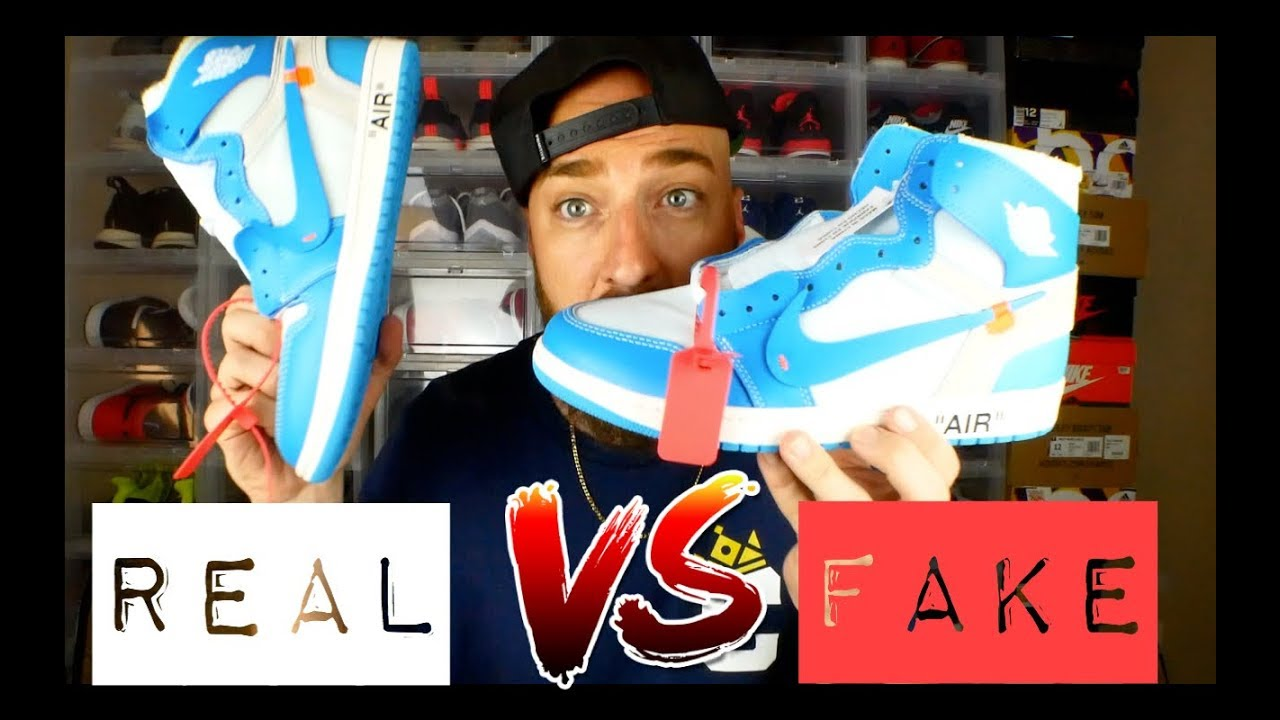d569a04e9c0d5 REAL vs FAKE! Off White Jordan 1 UNC Review   On Feet! - YouTube