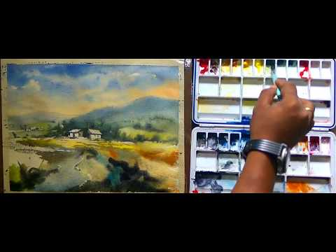 How to paint a simple landscape in watercolor easy step by step full tutorial