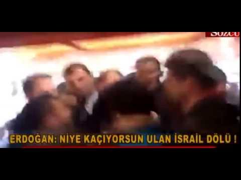 prime minister erdogan slapping to protester inside record